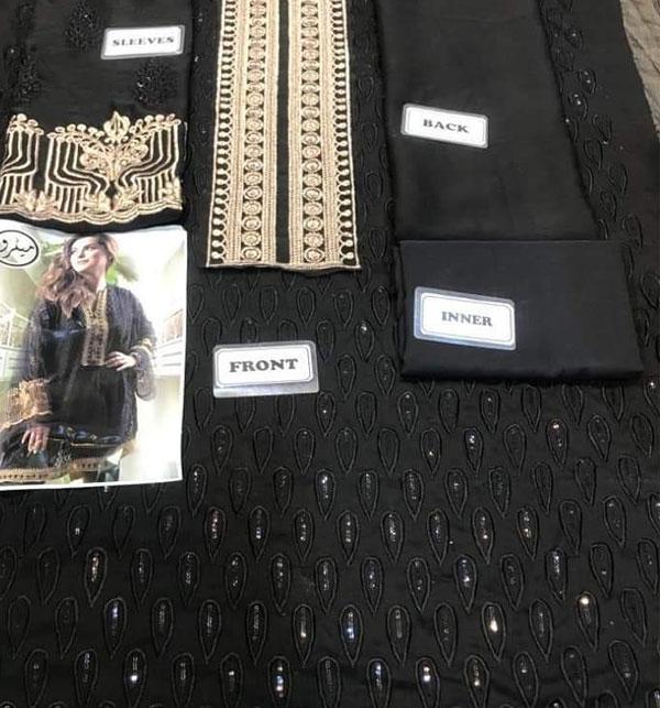 Designer Black Front Full Chiffon Embroidery Kurti (UN-Stitched) (EK-134) Gallery Image 1