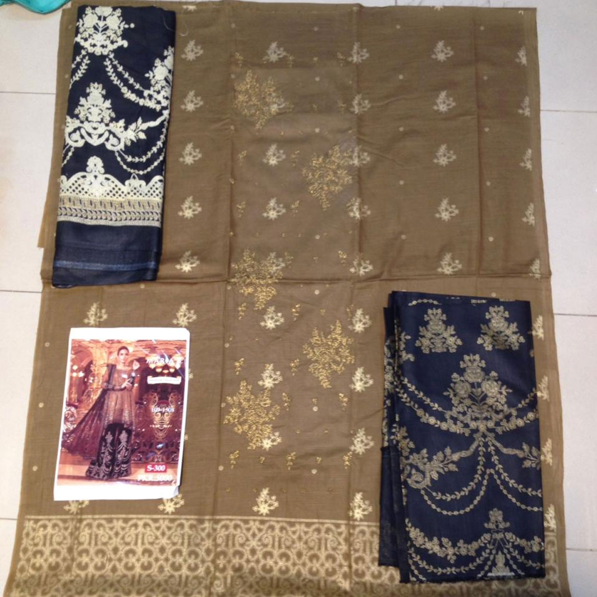 Khaddar Embroidered Suit with Wool Shawl Dupatta (KD-93) (UnStitched) Gallery Image 1