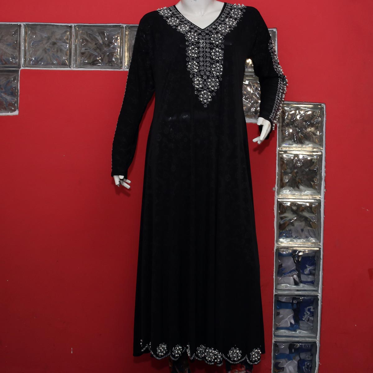 Jersey Abaya Pearls Work With Scarf 2020 (AB-54) Gallery Image 1