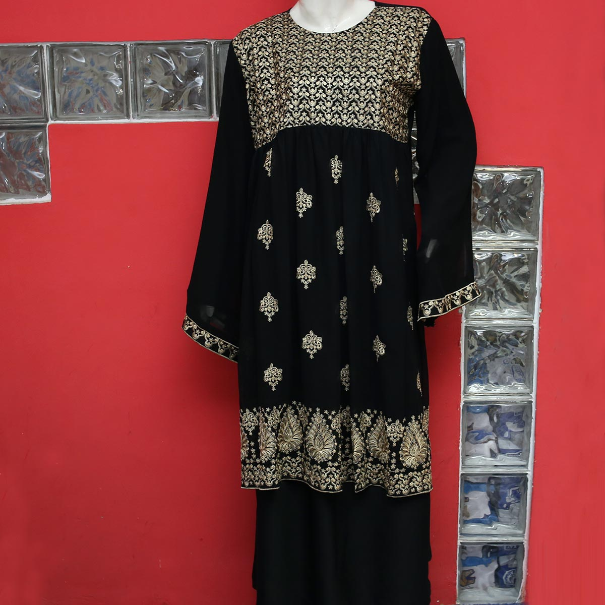 Heavy Embroidered NIDA Abaya Design 2020 With Scarf - (AB-56) Gallery Image 1