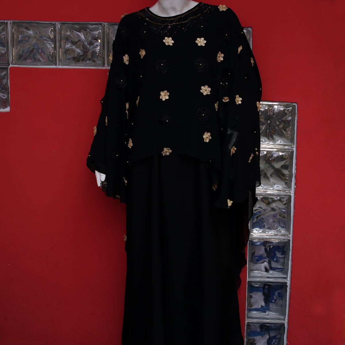 Fancy Nida Heavy Embroidery Abaya With Scarf - (AB-57) Gallery Image 1