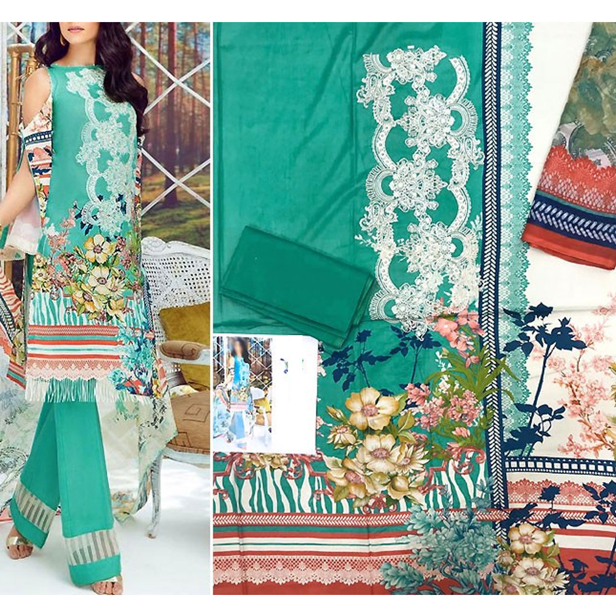 Pakistani Embroidered Lawn Suit 2020 with Chiffon Dupatta (DRL-415) (Unstitched) Gallery Image 1