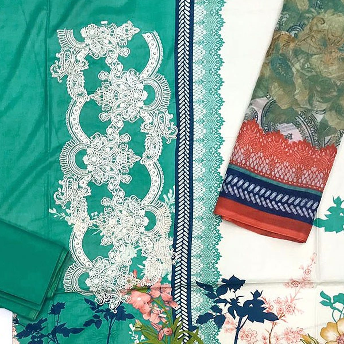 Pakistani Embroidered Lawn Suit 2020 with Chiffon Dupatta (DRL-415) (Unstitched) Gallery Image 2