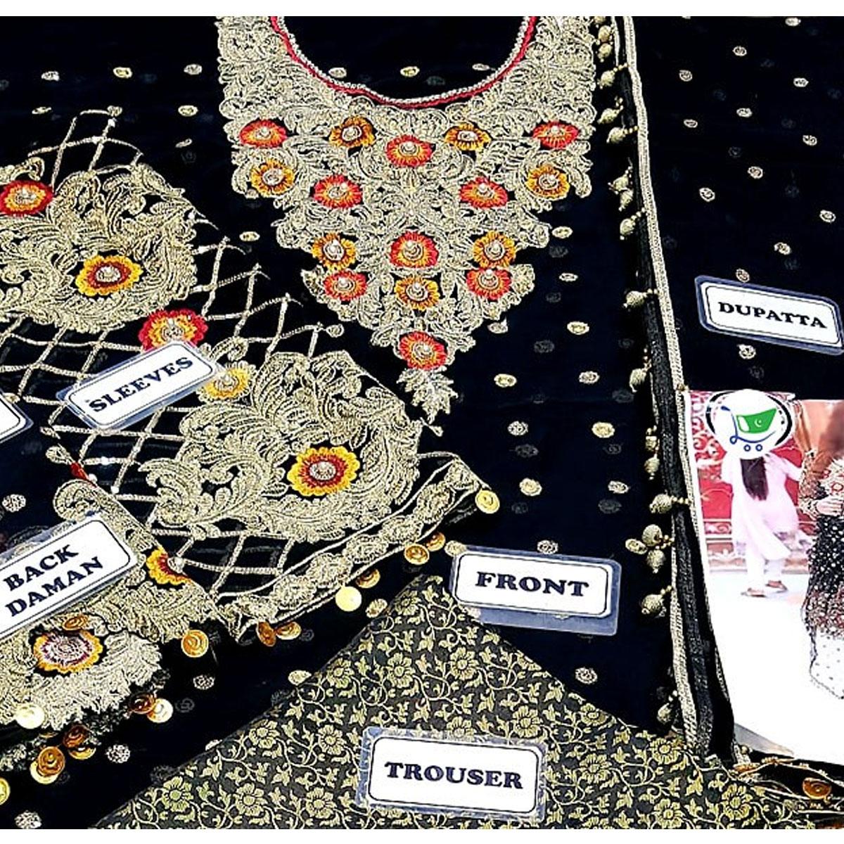Heavy Embroidered Black Chiffon Wedding Dress - (CHI-328) Gallery Image 1