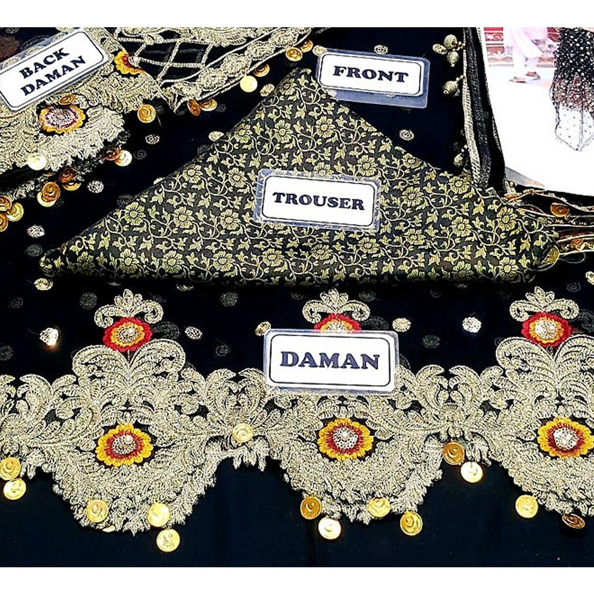 Heavy Embroidered Black Chiffon Wedding Dress - (CHI-328) Gallery Image 2