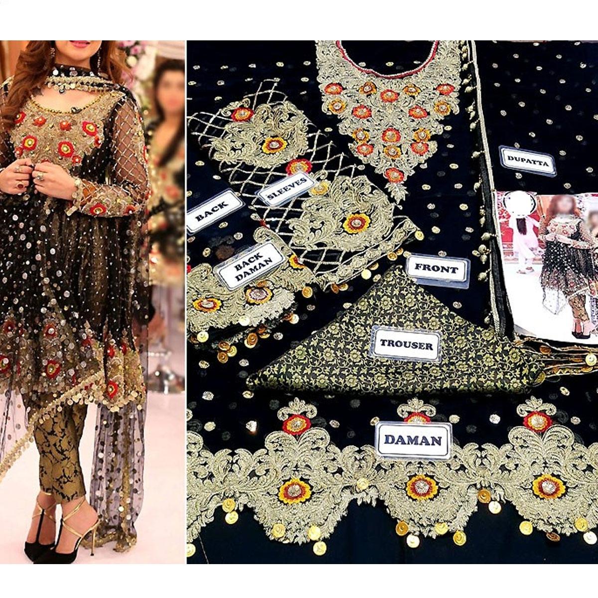 Heavy Embroidered Black Chiffon Wedding Dress - (CHI-328) Gallery Image 3