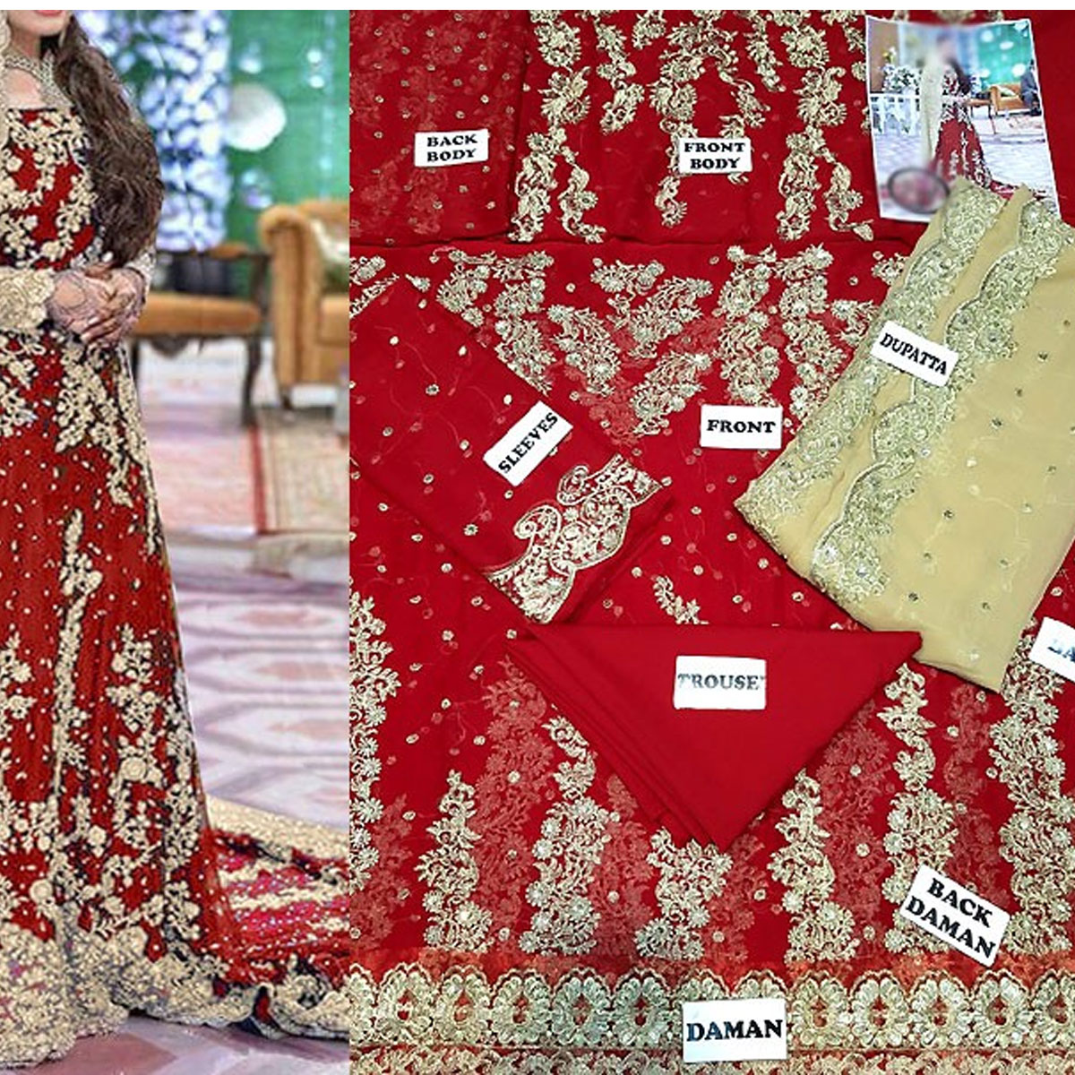Heavy Embroidered Red Chiffon Bridal Maxi Dress 2020-2021 - (CHI-329) Gallery Image 1