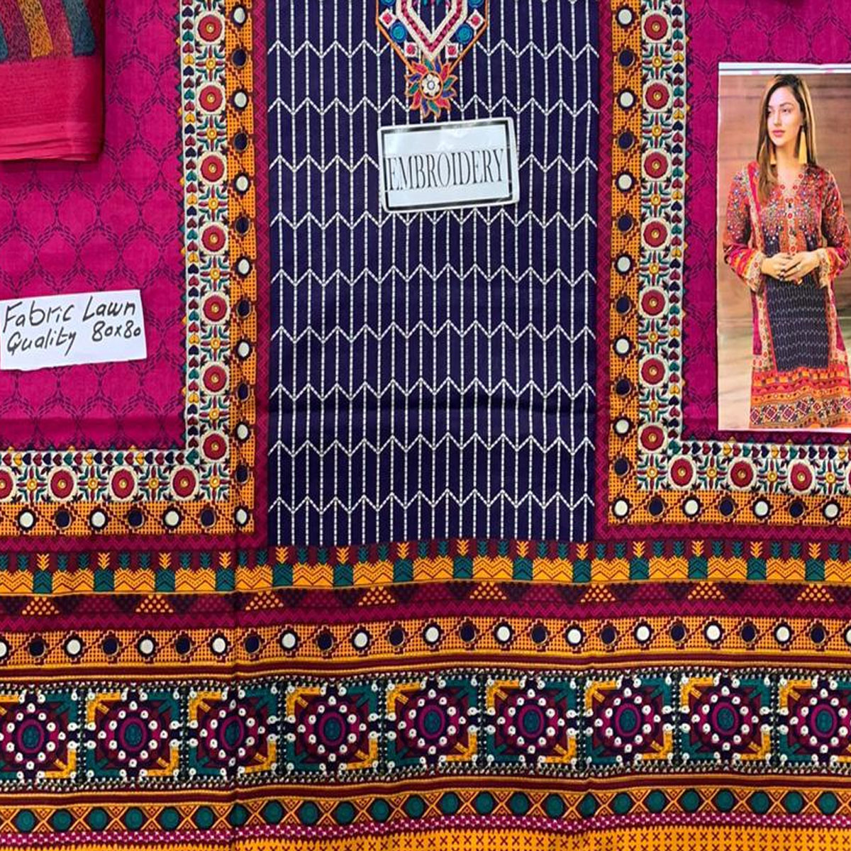 Lawn Embroidery Dress 2020 UnStitched (DRL-418) Gallery Image 3