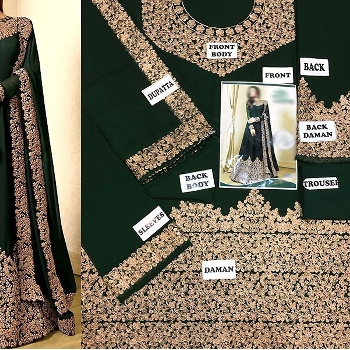 Indian Embroidered Green Chiffon Maxi Dress (Unstitched) (CHI-333) Gallery Image 1