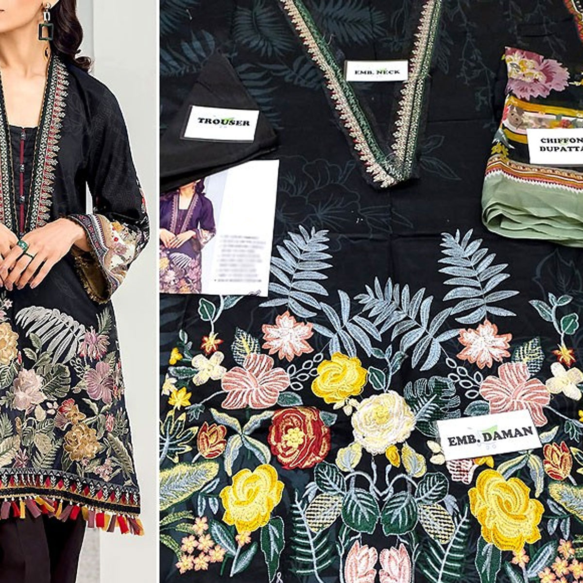 Lawn Embroidered Dress 2020 With Chiffon Dupatta  - (DRL-431) (UnStitched) Gallery Image 1