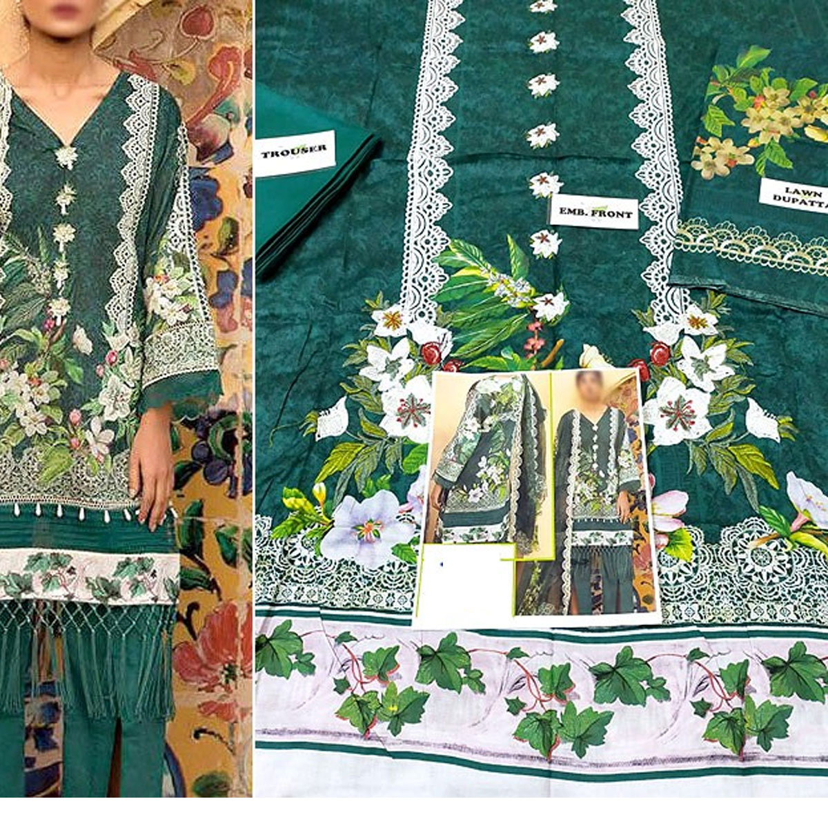 Heavy Embroidered Lawn Suit with Lawn Dupatta  - (DRL-432) (UnStitched) Gallery Image 1