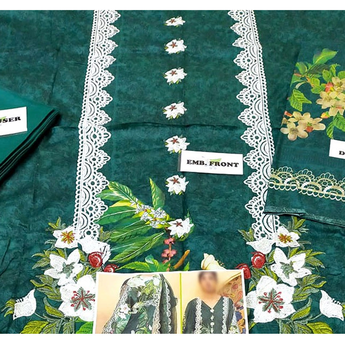 Heavy Embroidered Lawn Suit with Lawn Dupatta  - (DRL-432) (UnStitched) Gallery Image 2