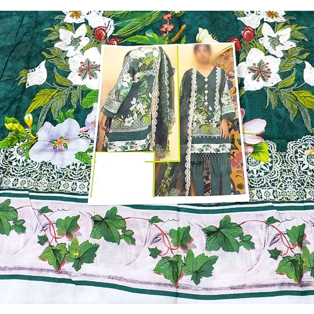 Heavy Embroidered Lawn Suit with Lawn Dupatta  - (DRL-432) (UnStitched) Gallery Image 3