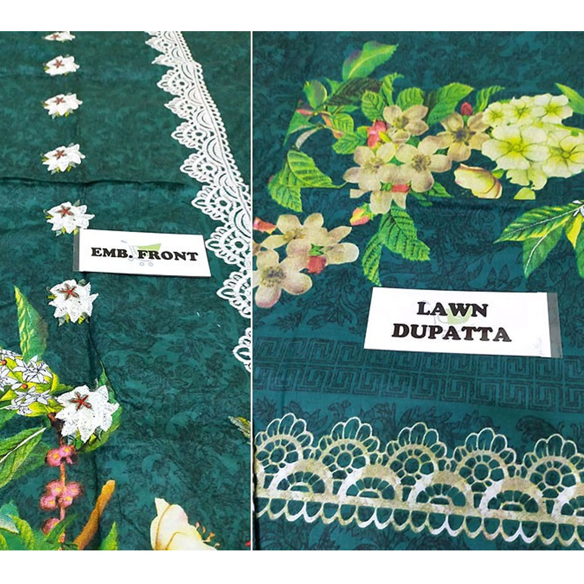 Heavy Embroidered Lawn Suit with Lawn Dupatta  - (DRL-432) (UnStitched) Gallery Image 4