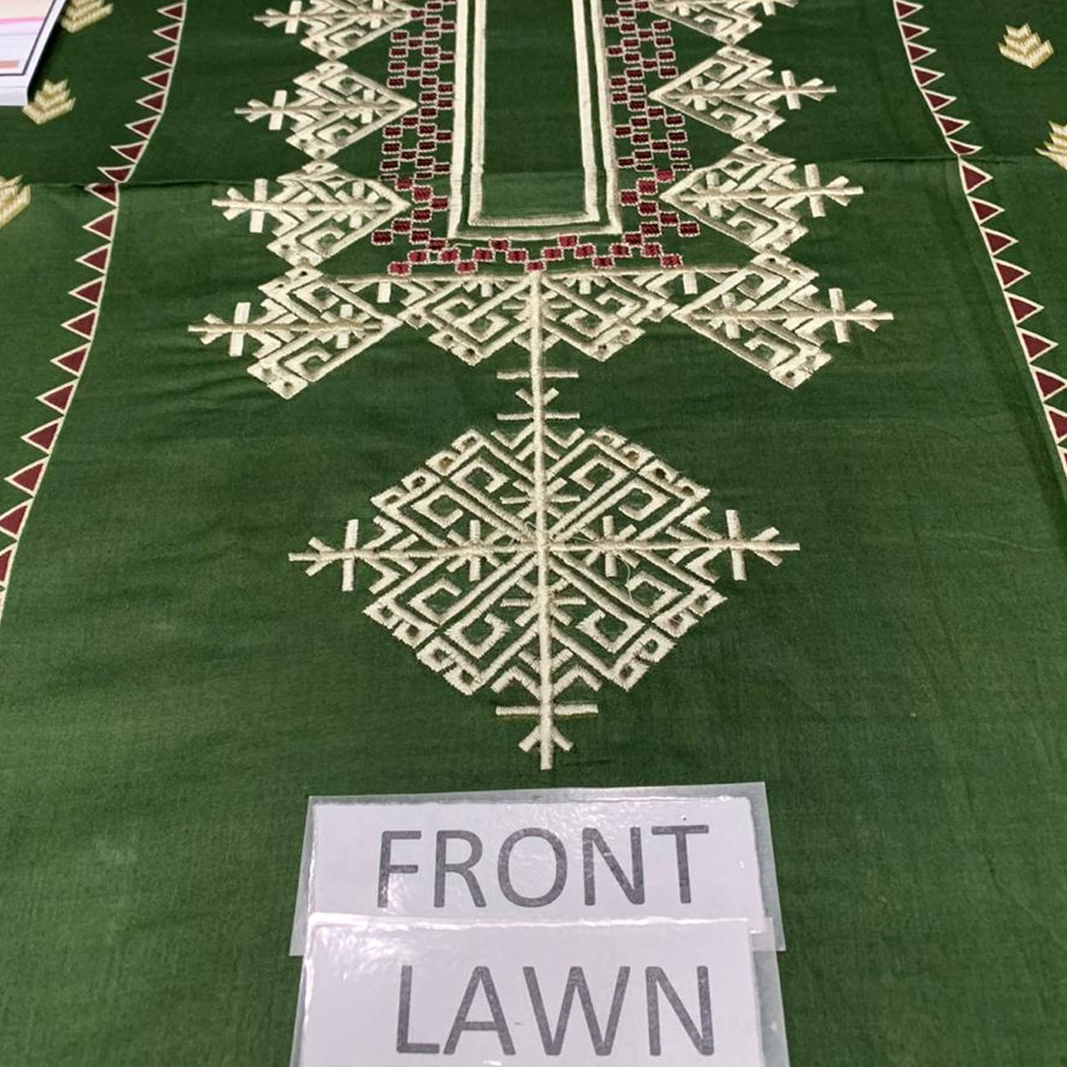 Heavy Embroidered Lawn Suit with Chiffon Dupatta (DRL-440) (Unstitched) Gallery Image 2