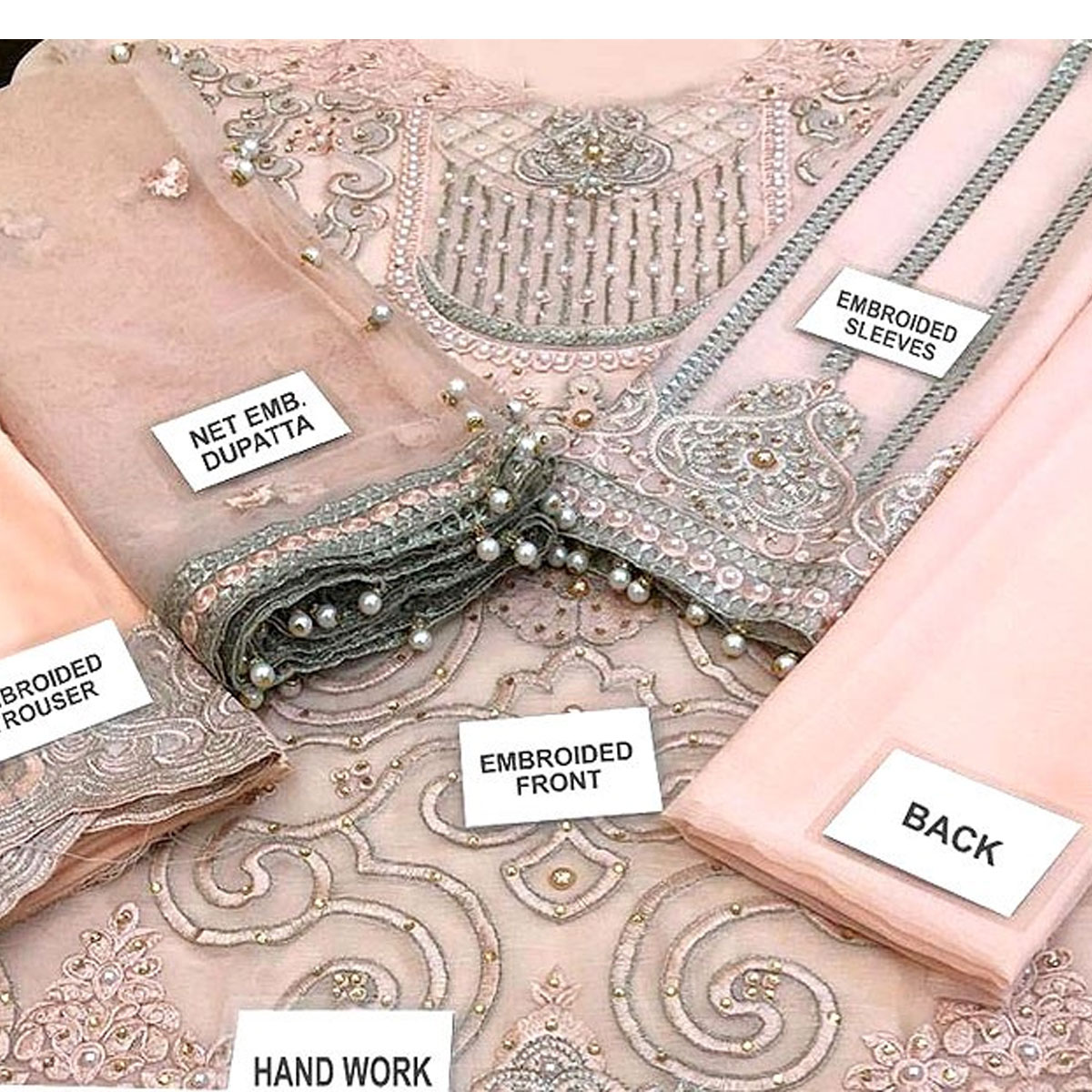 Heavy Handwork Embroidered Chiffon Dress with Net Dupatta Unstitched 3 Piece Suit (CHI-339) Gallery Image 2