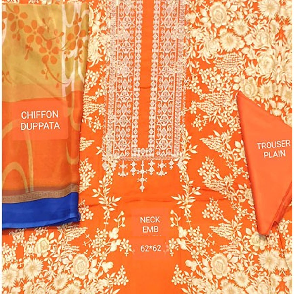 Pack OF 2 - Designer Lawn Embroidered Dress With Chiffon Dupatta (DRL-346) & (DRL-324) Gallery Image 1