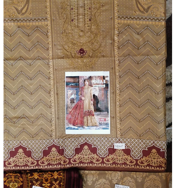 Embroidered Lawn Suits with Chiffon Dupatta & Printed Trouser (DRL-454) (Unstitched) Gallery Image 1