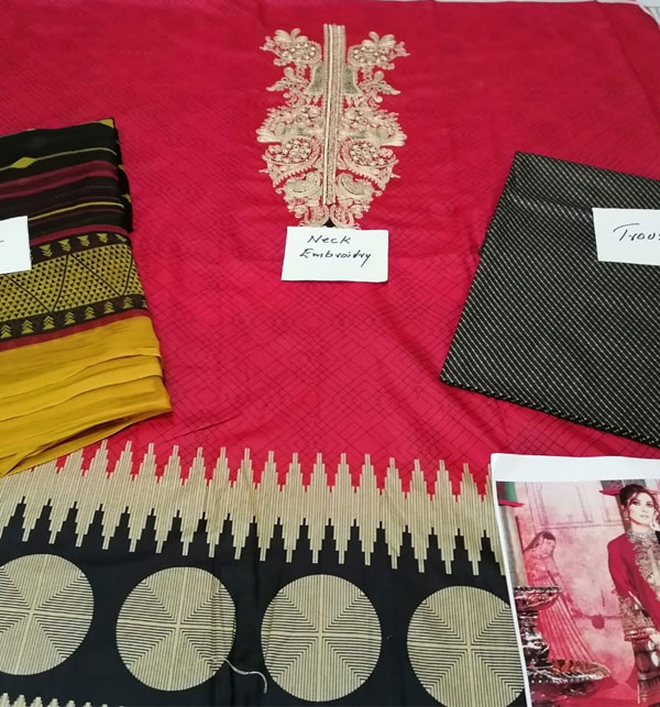 New Embroidered Lawn Suits with Chiffon Dupatta & Embroidered Trouser(DRL-456) (Unstitched) Gallery Image 1