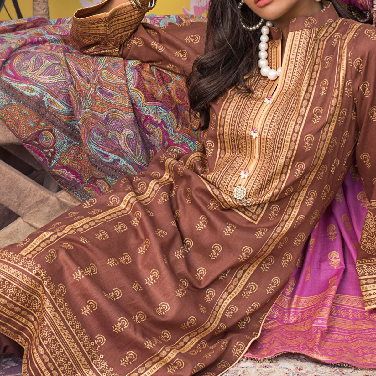 Banarsi Lawn Block Printed Collection 3 Pec Suit BY Z.S Textile (RBP-06) (Unstitched) Gallery Image 2