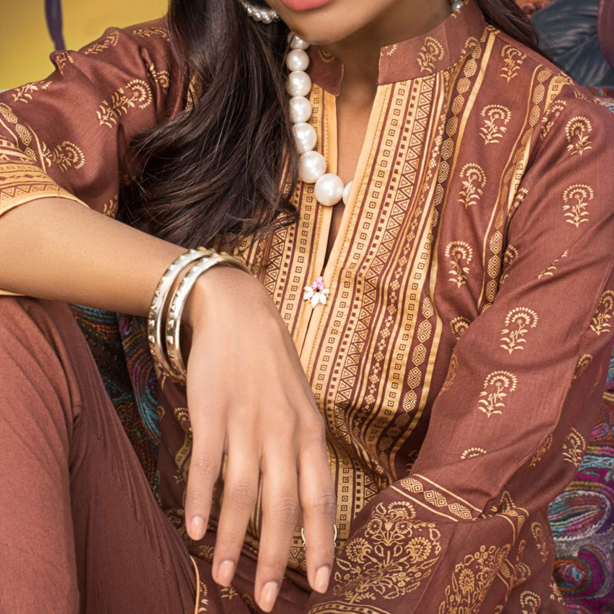 Banarsi Lawn Block Printed Collection 3 Pec Suit BY Z.S Textile (RBP-06) (Unstitched) Gallery Image 3
