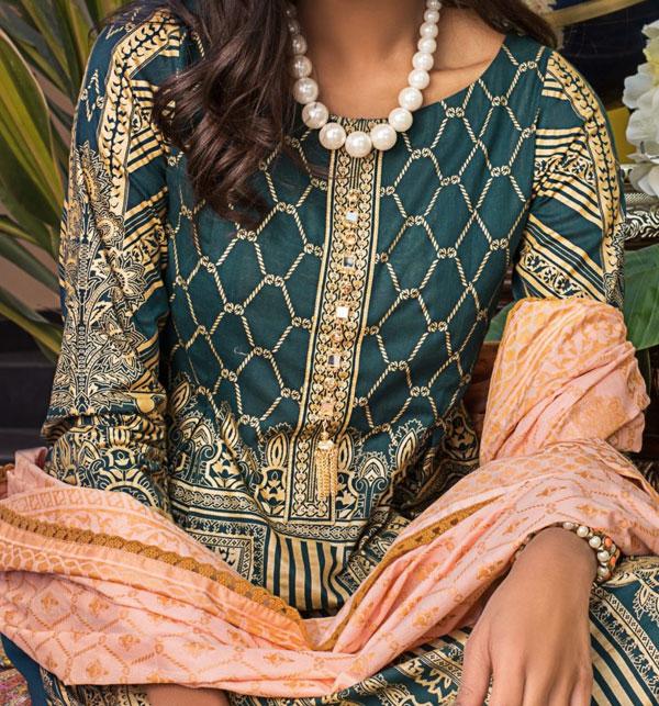 Banarsi Lawn Printed Collection 3 Pec Suit BY Z.S Textile (RBP-07) (Unstitched) Gallery Image 3