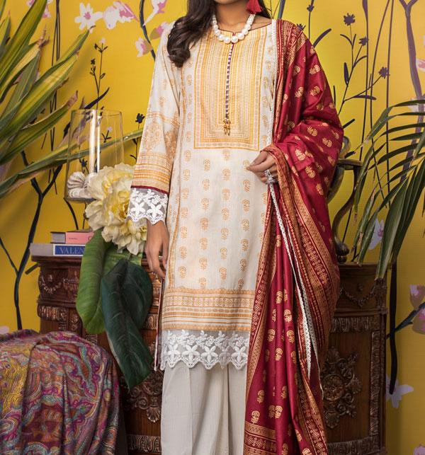 Banarsi Lawn Block Printed Collection 3 Pec Suit BY Z.S Textile (RBP-08) (Unstitched) Gallery Image 1