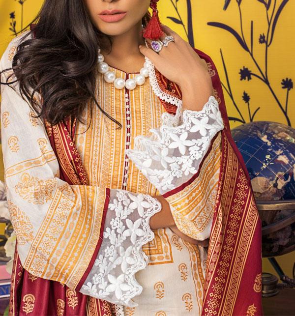 Banarsi Lawn Block Printed Collection 3 Pec Suit BY Z.S Textile (RBP-08) (Unstitched) Gallery Image 3