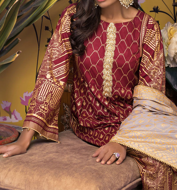 Banarsi Lawn Block Printed Collection 3 Pec Suit BY Z.S Textile (RBP-10) (Unstitched) Gallery Image 1