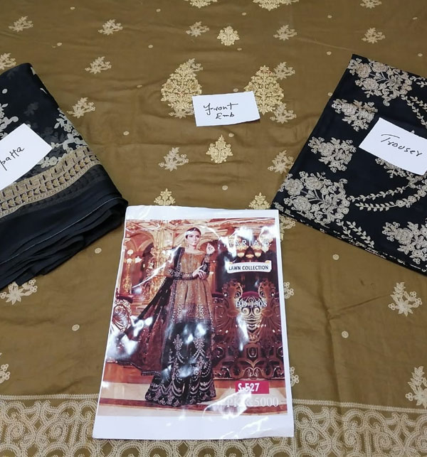 Embroidered Lawn Suits with Chiffon Dupatta (DRL-459) (Unstitched) Gallery Image 1