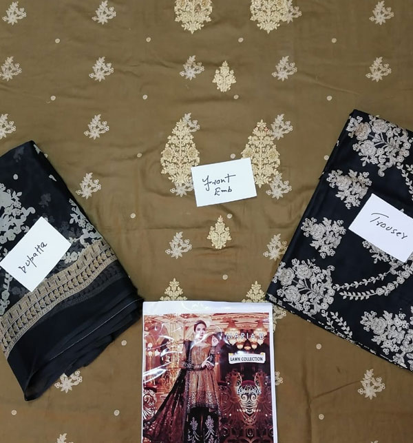 Embroidered Lawn Suits with Chiffon Dupatta (DRL-459) (Unstitched) Gallery Image 2