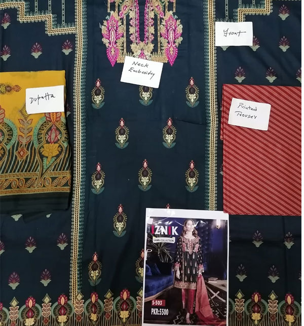Lawn Embroidery Black Suit With Chiffon Printed Duppata (DRL-462) (Unstitched) Gallery Image 1