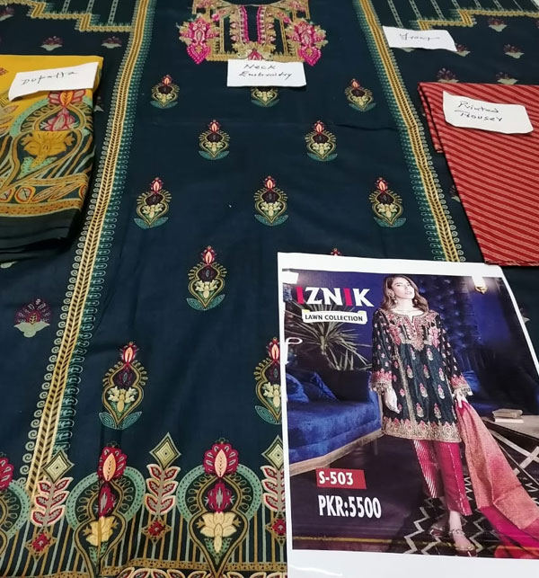 Lawn Embroidery Black Suit With Chiffon Printed Duppata (DRL-462) (Unstitched) Gallery Image 2