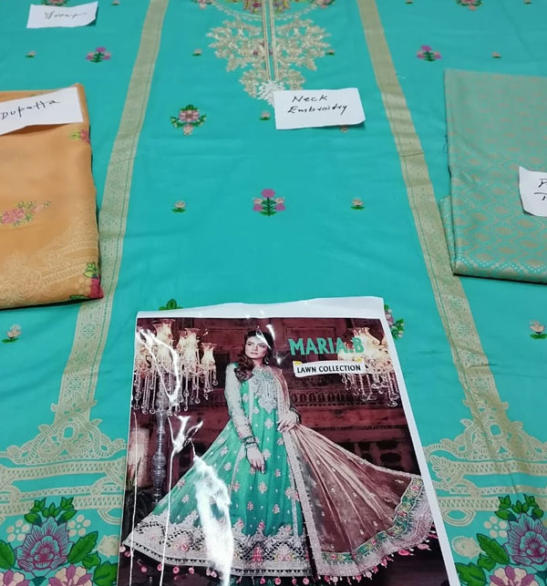 Lawn Embroidery Suit With Chiffon Printed Duppata (DRL-463) (Unstitched) Gallery Image 1