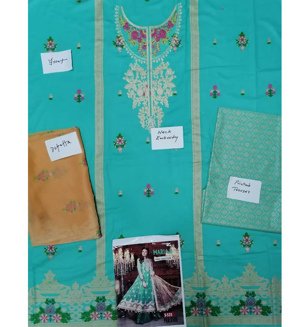 Lawn Embroidery Suit With Chiffon Printed Duppata (DRL-463) (Unstitched) Gallery Image 2