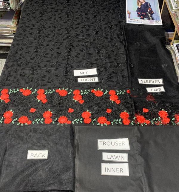 2PCS Black Net Embroidery Suit (Shirt+Trouser) Unstitched (CHI-344) Gallery Image 1