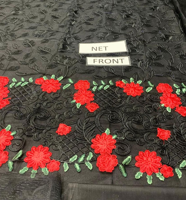 2PCS Black Net Embroidery Suit (Shirt+Trouser) Unstitched (CHI-344) Gallery Image 2