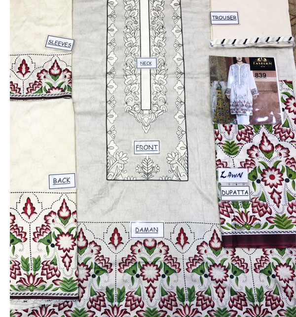 Designer Embroidery Lawn Dress With Lawn Duppata (Unsitched) (DRL-465) Gallery Image 1