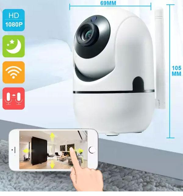 Ip Wireless 3D Tracking Mini Camera Y4Cza 2Mp Hd 1080P White Gallery Image 1