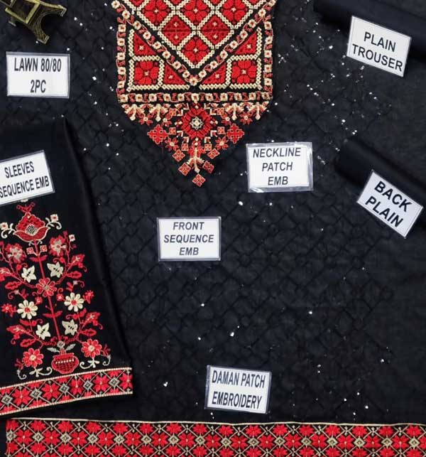 2-Pcs Sequins Embroidered Black Lawn Dress 2020 (Unsitched) (DRL-468) Gallery Image 1
