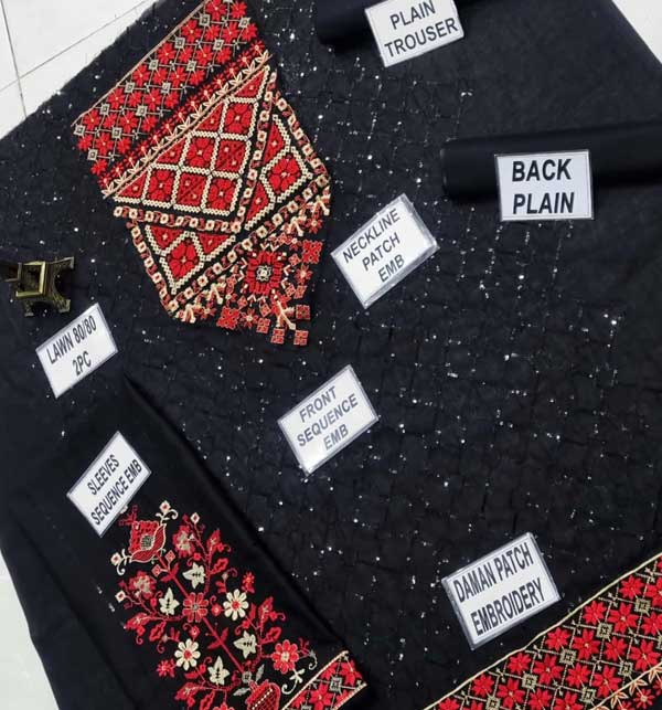 2-Pcs Sequins Embroidered Black Lawn Dress 2020 (Unsitched) (DRL-468) Gallery Image 3