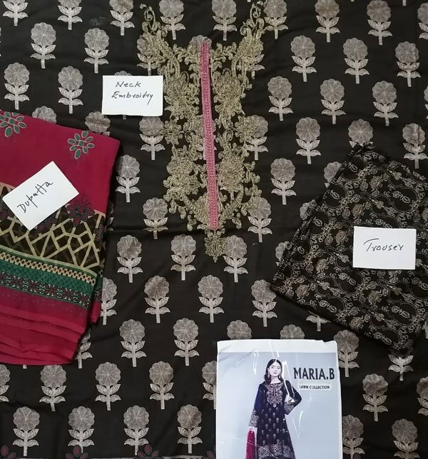 New Pack of 2 - Embroidered Lawn Dress 2020 with Chiffon Dupatta UnStitched (DRL-422) & (DRL-474) Gallery Image 2