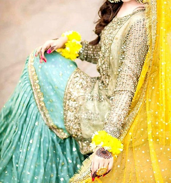 Bridal Embroidered Net Dress with Chiffon Dupatta (UnStitched) (CHI-348) Gallery Image 1
