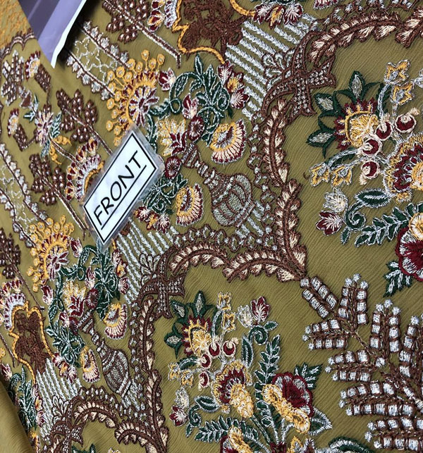 Designer Embroidered Chiffon Unstitched 3 Piece Suit 2020 (CHI-349) Gallery Image 2