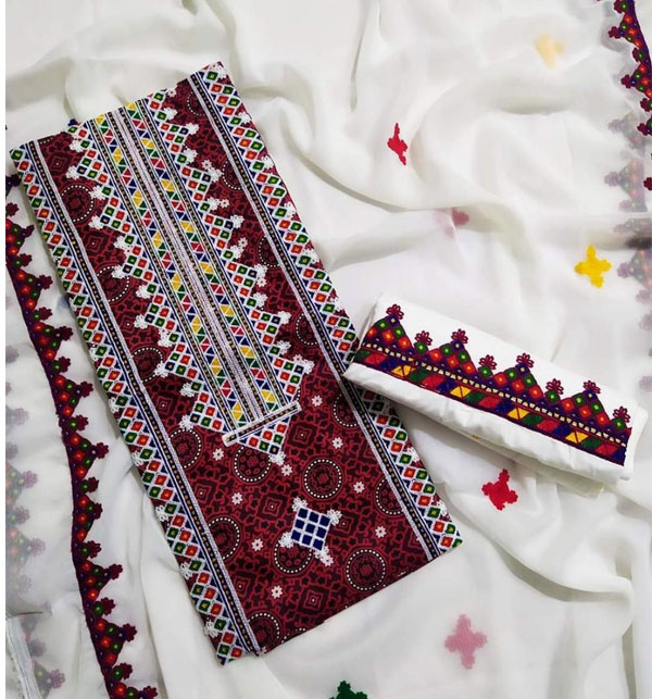 Lawn Ajrak Ari Work Heavy Embroidery Suit Emb Trouser 2 Pec Dress (UnStitched) (DRL-500) Gallery Image 2