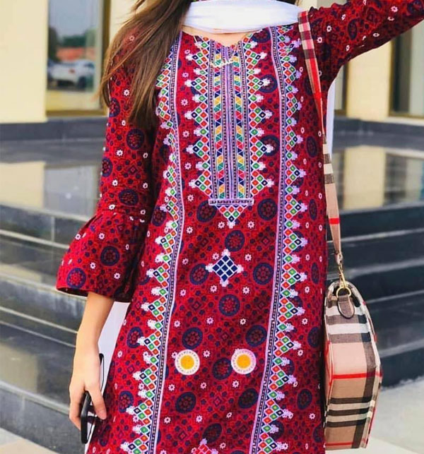 Lawn Ajrak Ari Work Heavy Embroidery Suit Emb Trouser 2 Pec Dress (UnStitched) (DRL-500) Gallery Image 3