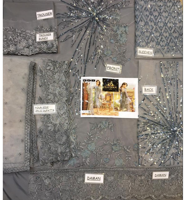 Latest NET Heavy Embroidered Suit 2020 (UnStitched) (CHI-352) Gallery Image 1