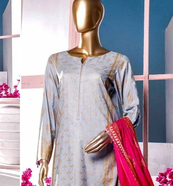 New Block Print Banarsi Lawn Suits 2020 With Lawn Dupatta (MBP-02) (Unstitched) Gallery Image 1