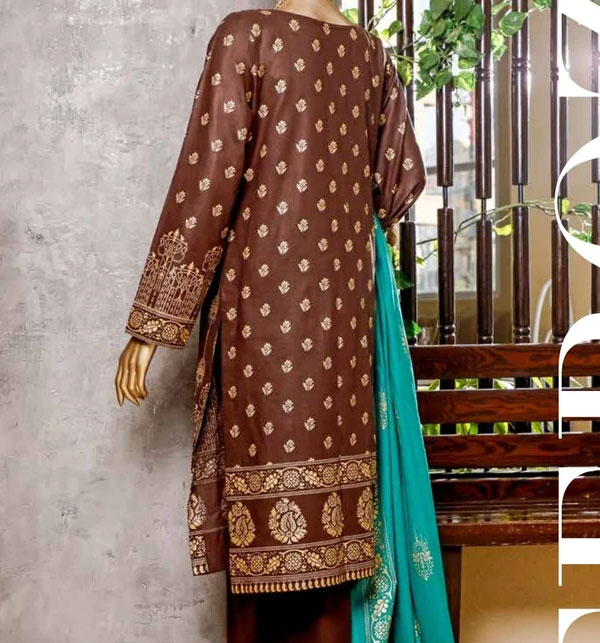 New Block Printed Banarsi Lawn Collection 2020 With Lawn Dupatta (MBP-11) (Unstitched) Gallery Image 1