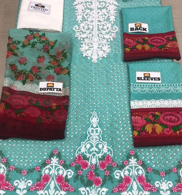 Eid Embroidered Chikankari Unstitched 3 Piece Suit  (Unstitched ) (DRL-522) Gallery Image 1